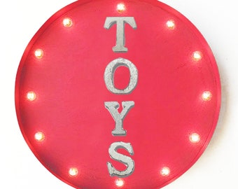"On Sale! 20"" TOYS Round Metal Sign - Plugin or Battery Operated - Play Games Fun - Rustic Vintage Marquee Light Up"
