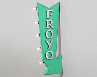 """On Sale! 25"""" FROYO Metal Arrow Sign - Frozen Yogurt Ice Cream - Plugin Battery Operated Rustic led Double Sided Rustic Marquee Light Up"""