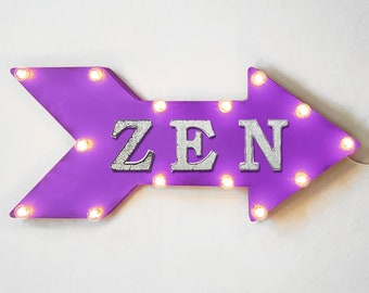 "On Sale! 24"" ZEN Straight Arrow Sign - Relax Meditate Garden Yoga Mind Body Soul Spirit - Rustic Vintage Marquee Light Up"