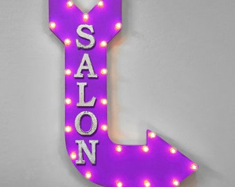 "On Sale! 36"" SALON Metal Arrow Sign - Barber Shop Hair Beauty - Double Sided Hang or Suspend - Rustic Marquee Light Up"