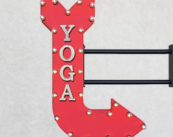 "On Sale! 36"" YOGA Metal Arrow Sign - Pilates Fitness Gym Meditation Mindful Health - Double Sided Hang or Suspend - Rustic Marquee Light Up"