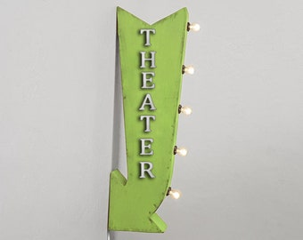 "On Sale! 25"" THEATER Theatre Movies Popcorn Plugin or Battery Operated Rustic led Double Sided Rustic Metal Arrow Marquee Light Up Sign"