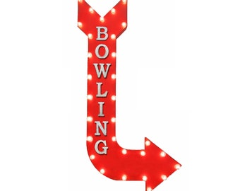 "On Sale! 48"" BOWLING Metal Arrow Sign - Alley Bowl Ball Lane Lanes Lucky Strike - Vintage Rustic Curved Marquee Light Up"