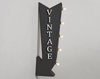 """On Sale! 25"""" VINTAGE Flea Market Thrift Store Plugin or Battery Operated Rustic led Double Sided Rustic Metal Arrow Marquee Light Up Sign"""