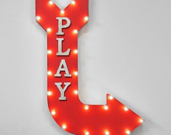 "ON SALE! 36"" PLAY Double Sided Hanging Suspended Hang Playroom Game Room Arcade Games Large Rustic Metal Marquee Light Up Sign Arrow"