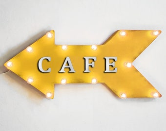 "On Sale! 24"" CAFE Straight Metal Arrow Sign - Open Welcome Coffee Espresso Bakery Shop - Rustic Vintage Marquee Light Up"