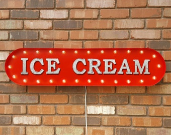 """On Sale! 39"""" ICE CREAM Metal Oval Sign - Frozen Freeze Yogurt Snow Cone Sweet Treats - Vintage Style Rustic Marquee Light Up"""