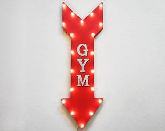 "On Sale! 36"" GYM Metal Arrow Sign - Plugin or Battery Operated Led - Weights Health Fitness Trainers - Rustic Marquee Light up"