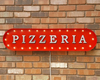 "On Sale! 39"" PIZZERIA Metal Oval Sign - Pizza Pasta Spaghetti Italian Food Restaurant Garlic - Vintage Style Rustic Marquee Light Up"