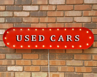"""On Sale! 39"""" USED CARS Auto For Sale Car Parking Lot No Frills Vintage Style Rustic Metal Marquee Light Up Sign"""