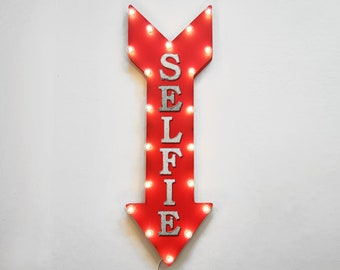 """ON SALE! 36"""" SELFIE Phone Cell Take Selfie Smile Plug-In or Battery Operated led Light Up Restaurant Large Rustic Metal Marquee Sign Arrow"""