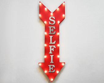"On Sale! 36"" SELFIE Metal Arrow Sign - Plugin or Battery Operated Led - Phone Cell Take Smile - Rustic Marquee Light up"