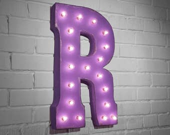 "On Sale! 21"" Letter R Metal Sign - Rustic Vintage Style Custom Marquee Light Up Alphabet Letters"