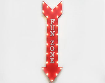 "On Sale! 48"" FUN ZONE Metal Sign - Plugin or Battery Operated - Kids Play Area Playtime Games - Vintage Rustic Marquee Arrow Light Up"