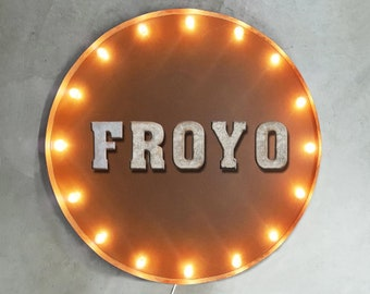 """On Sale! 30"""" FROYO Round Metal Sign - Plugin or Battery Operated - Frozen Yogurt Yoghurt Ice Cream Shop - Rustic Vintage Marquee Light Up"""