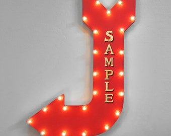 """ON SALE! 36"""" CUSTOMIZED Your Name Word Plug-In Battery Operated led Light Up Large Rustic Metal Marquee Sign Arrow 14 Color"""