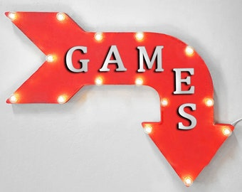 "On Sale! 24"" GAMES Curved Metal Arrow Sign - Game Play Toys Fun Video Gamer - Rustic Vintage Marquee Light Up"