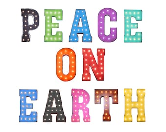 """On Sale! 21"""" PEACE ON EARTH - Metal Light Up Marquee Sign - Harmony Joyous Unity - Plugin, Battery or Solar - Rustic Vintage Style Letters"""