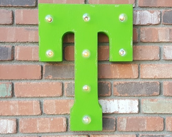 ON SALE! Letter T. Battery Operated. Choose Rustic or Non-Rustic. 24 Colors. Vintage Style Marquee LED Sign Light. Batteries Included!