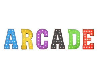 """On Sale! 21"""" ARCADE Metal Sign  - Game Room Card Games Pinball Free Standing or Hang - Rustic Vintage Style Marquee Light Up Letters"""