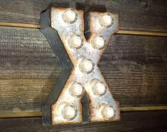 "ON SALE 7"" Letter X - Small Rustic Metal Marquee LED Plugin Sign Alphabet Light Up - 21 Available Colors!"