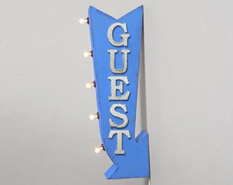 """On Sale! 25"""" GUEST Metal Arrow Sign - Plugin or Battery Operated - Airbnb Rent Rental Cabin Lodge - Double Sided Rustic Marquee Light Up"""