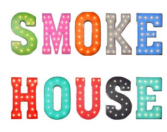 """On Sale! 21"""" SMOKE HOUSE Metal Sign - Food Bbq Meat Restaurant Eat - Free Standing or Hang - Rustic Vintage Style Marquee Light Up Letters"""