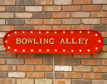 """On Sale! 39"""" BOWLING ALLEY Pins Games Ball Lucky Strike Spare Vintage Style Rustic Metal Marquee Light Up Sign"""
