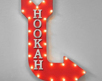 "ON SALE! 36"" HOOKAH Smoke Flavored Vapor Vaping Vape Lounge Double Sided Hanging Suspended Hang Rustic Metal Marquee Light Up Sign Arrow"