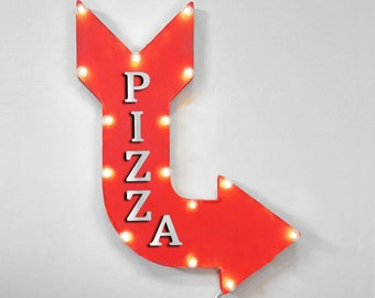 """On Sale! 24"""" PIZZA Curved Metal Arrow Sign - Pie Italian Food Pizzas Pizzeria - Plugin, Battery or Solar - Rustic Vintage Light Up Marquee"""