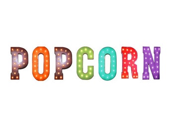 """On Sale! 21"""" POPCORN Metal Sign - Movie Night Cinema Pop Corn Food - Free Standing or Hang - Rustic Vintage Style Marquee Light Up Letters"""