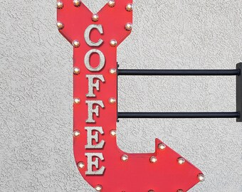 "On Sale! 36"" COFFEE Metal Arrow Sign - Cafe Espresso Latte Iced Hot Eatery - Double Sided Hang or Suspend - Rustic Marquee Light Up"