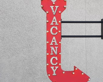 "On Sale! 48"" VACANCY Metal Arrow Sign - Available Vacant Hotel Motel Occupancy - Double Sided Hang or Suspend - Rustic Marquee Light Up"