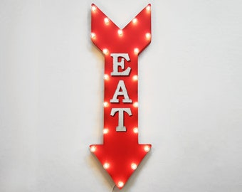 "On Sale! 36"" EAT Metal Arrow Sign - Plugin or Battery Operated Led - Eatery Bar Cafe Restaurant Diner - Rustic Marquee Light up"