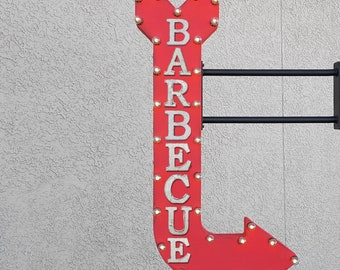 "On Sale! 48"" BARBECUE Metal Arrow Sign - bbq Grill Summer Grillin Backyard Party - Double Sided Hang or Suspend - Rustic Marquee Light Up"