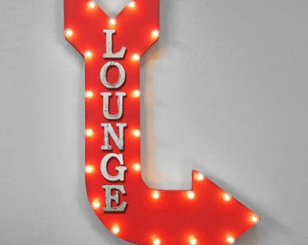 "ON SALE! 36"" LOUNGE Sitting Waiting Area Lobby Chairs Couches Double Sided Hanging Suspended Hang Rustic Metal Marquee Arrow Light Up Sign"