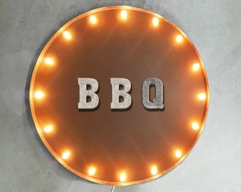 "On Sale! 30"" BBQ Round Metal Sign - Plugin or Battery Operated - Eat Ribs Meat Barbecue Restaurant Drink - Rustic Vintage Marquee Light Up"