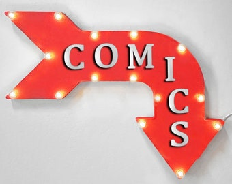 "On Sale! 24"" COMICS Curved Metal Arrow Sign - Books Comic Book Store Super Hero Magazine - Rustic Vintage Marquee Light Up"