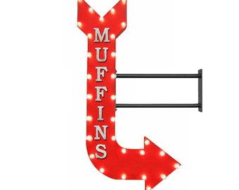 """On Sale! 48"""" MUFFINS Metal Arrow Sign - Pastries Treats Cake Cakes Bakery Sweets - Double Sided Hang or Suspend - Rustic Marquee Light Up"""