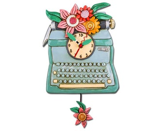 Vintage Typewriter with Flowers - Whimsical Colorful - Animated Pendulum Wall Clock