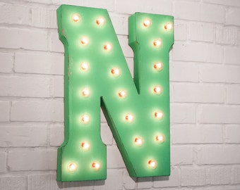 "On Sale! 21"" Letter N Metal Sign - Rustic Vintage Style Custom Marquee Light Up Alphabet Letters"