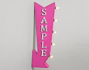 "On Sale! 25"" PIES Metal Arrow Sign - Plugin or Battery Operated - Dessert Bakery Cafe Diner - Double Sided Rustic Marquee Light Up"