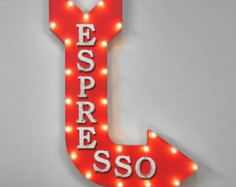 "On Sale! 36"" ESPRESSO Metal Arrow Sign - Plugin or Battery Operated - Coffee Bar Beans Mocha Caffeine Shots - Rustic Marquee Light up"