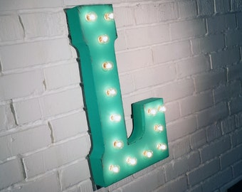 "On Sale! 21"" Letter L Metal Sign - Rustic Vintage Style Custom Marquee Light Up Alphabet Letters"