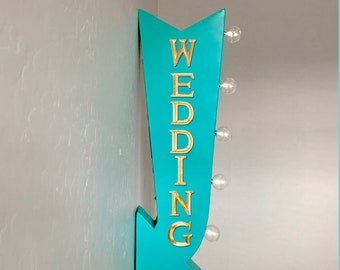 "On Sale! 25"" WEDDING Just Married I Do Prop Plugin or Battery Operated Rustic led Double Sided Rustic Metal Arrow Marquee Light Up Sign"