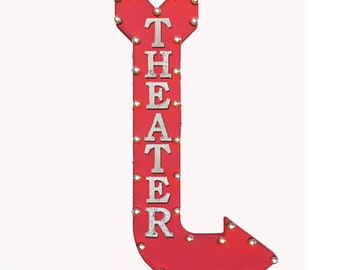 """On Sale! 48"""" THEATER Metal Arrow Sign - Movie Movies Theatre Cinema - Vintage Rustic Curved Marquee Light Up"""