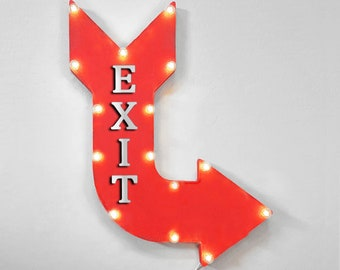 "On Sale! 24"" EXIT Curved Metal Arrow Sign - This Way To Exit Here Get Out Goodbye - Rustic Vintage Marquee Light Up"