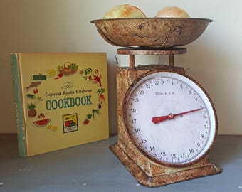 On Sale! Charming Food Weight Scale - Rustic Vintage Antique Style Metal Kitchen