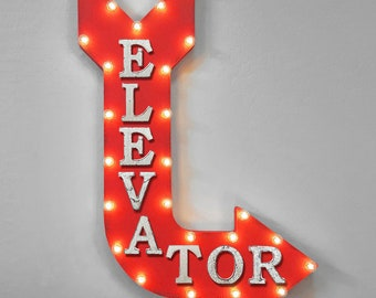 """On Sale! 36"""" ELEVATOR Metal Arrow Sign - Plugin or Battery Operated - Lobby Stairs Going Up Down Hotel - Rustic Marquee Light up"""