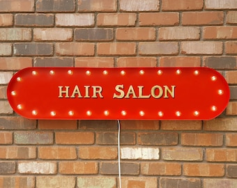 """On Sale! 39"""" HAIR SALON Beauty Spa Barber Beautician Esthetician Vintage Style Rustic Metal Marquee Light Up Sign"""